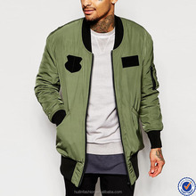 100% polyester satin bomber jacket for men zip opening ribbed collar longline bomber jacket with patches