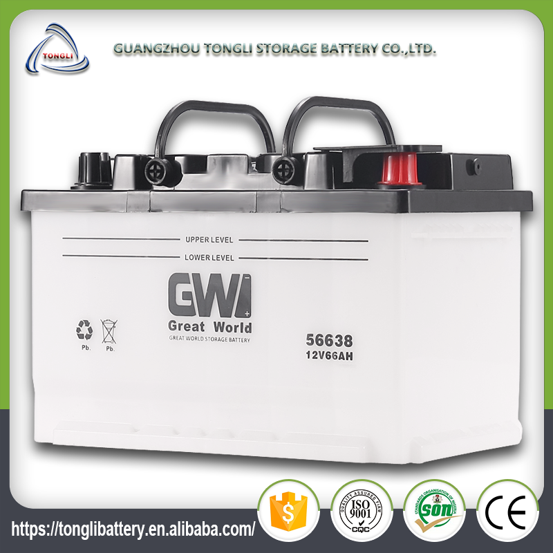 12v 66ah high quality and durable korea design DIN66 car battery quality used for car and truck