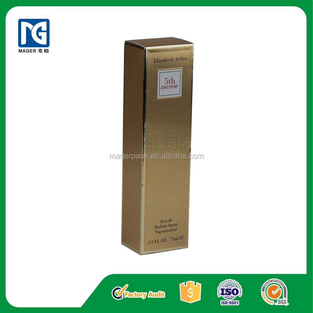 Shiny Gold Paper Perfume Packaging Box with Custom Design