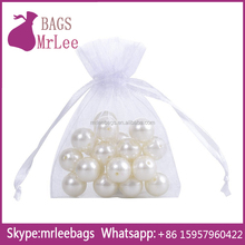 China manufacturer custom transperant white drawstring organza gem pouch bags