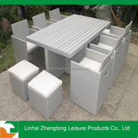 modern rattan furniture/wicker outdoor furniture rattan poly wood table sureface