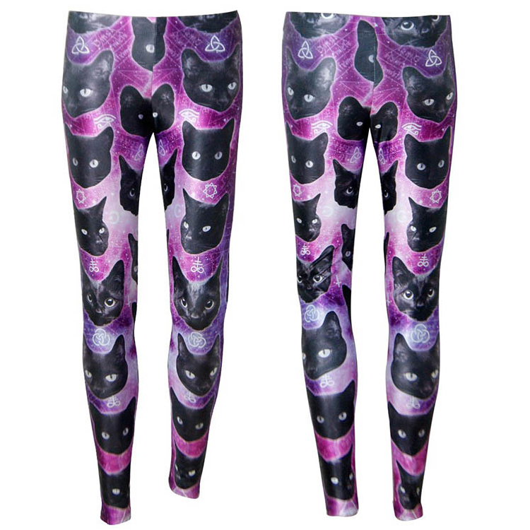 New Arrival Fashion Mid Waist Sexy Colorful Flower Cat Lady Beauty Galaxy Cute Leggings
