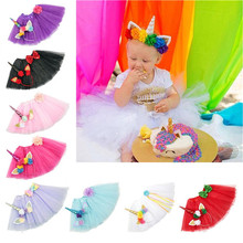 8 Colors New Design Kids Unicorn Headband Children TUTU Skirt Suit For Party