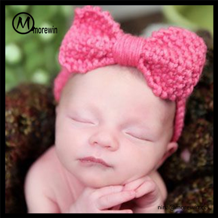 Morewin Hair Accessories Wholesale Headwear Custom Lovely Bow Baby Knit Hairbands