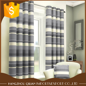 Top Quality Custom Design Vertical Print Striped Eyelet Lined Curtains