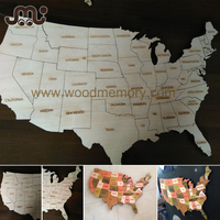 Custom unfinished and colorful wooden world map puzzle