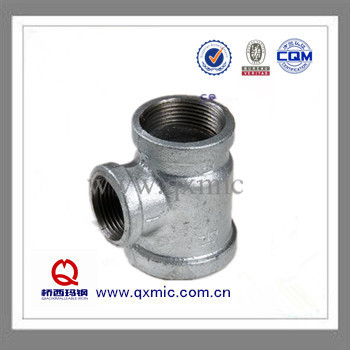 Galvanized/Black Sur face Malleable Iron Pipe Fitting Reducing Tee