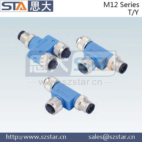 M12 standard male T type connector cable,M12 connector
