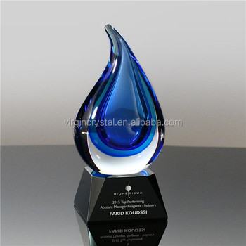 Popular water-drop shape crystal art trophy awards