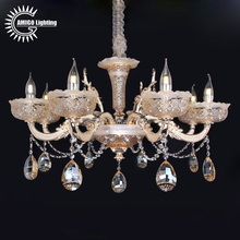 Moroccan aluminum alloy arms 8 lights brass crystal chandelier with glass bowl lampshade