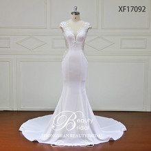 newest fashion design of very fit mermaid lace wedding dress 2017 , high quality crepe wedding gown with low V neckline