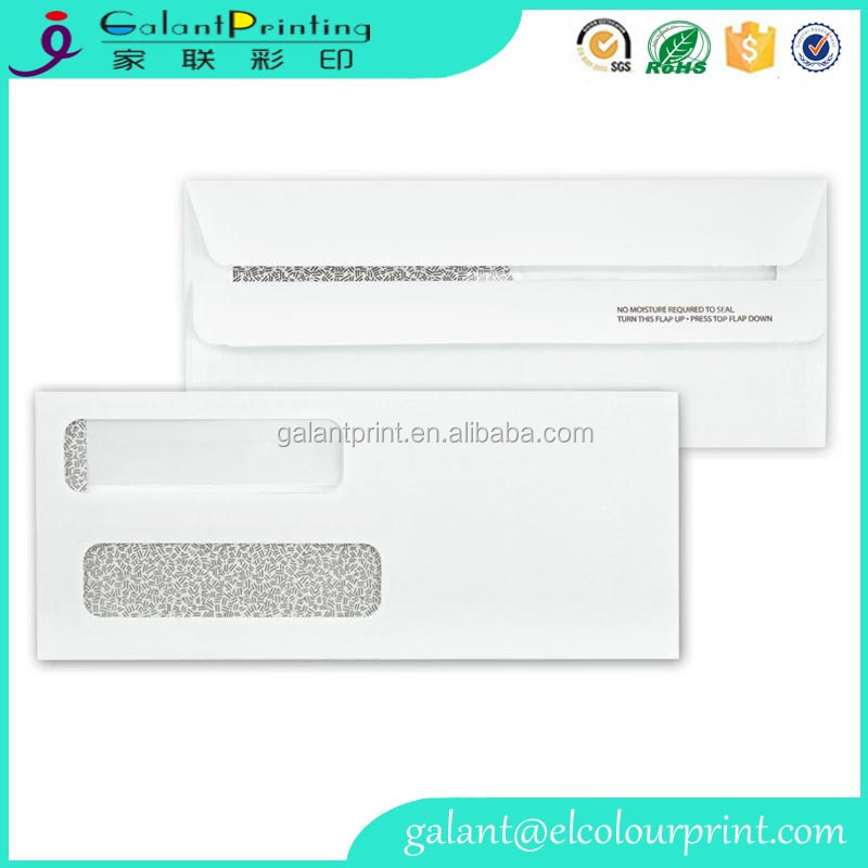 Custom design Expanded Embossed double window business envelopes with peel and seal