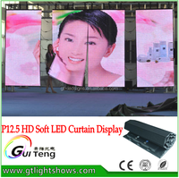 China p12.5 outdoor led screen transparent led display flexible Video