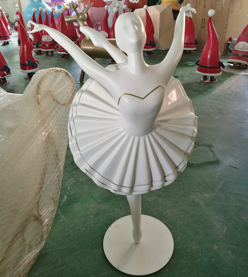 rotating ballerina dancing girl figure fiberglass figurine