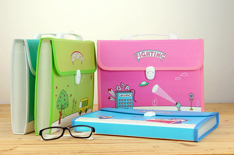 cute design a4 size plastic expanding file case with handle