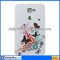 Trendy Flower and Butterfly Pattern Durable TPU Case for Samsung Galaxy Note GT-N7000 i9220 - White