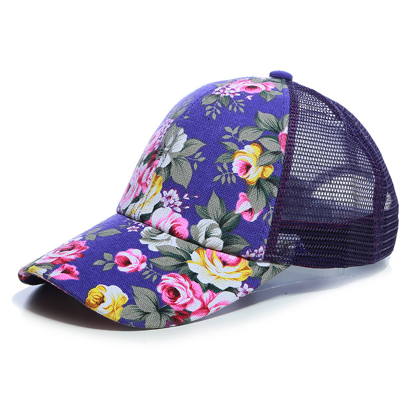 2017 New Baseball Hats For Women Sunshade Gorras Vintage Floral Caps Summer Canvas Mesh Hat Ladies Trucker Hat