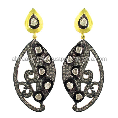 925 Sterling silver antique uncut diamond victorian style dangle earrings wholesale unique jewelry