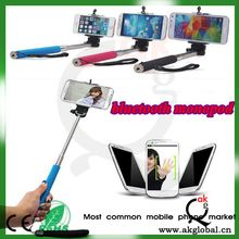 Colorful extendable handheld Wireless Bluetooth Monopod with shutter remote with two clips for iphone