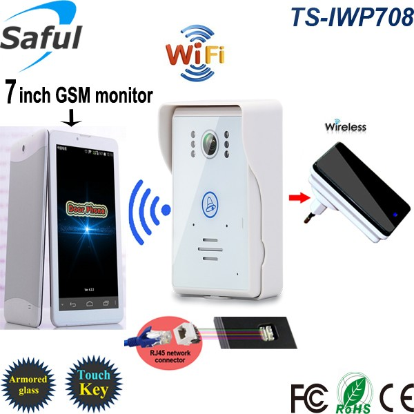 Saful TS-IWP708 <strong>cheap</strong> price building touch screen wifi wireless IP video door phone with home automation