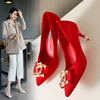 Fashion High Quality Pearl Rhinestone Suede Wedding Dress Party High Heel Shoes for Women and Ladies