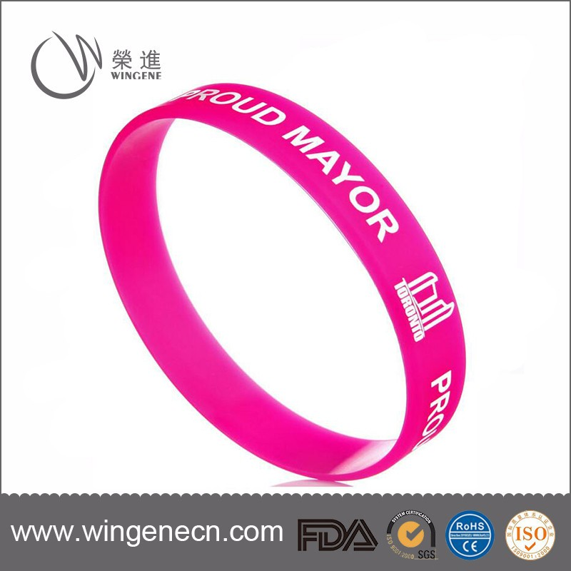 Colorful Round Cheap Custom Silicone Rubber Band Bracelet With Printing Logo