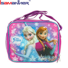 Frozen Anna Elsa soft cooler lunch kit, cute kids frozen lunch bag