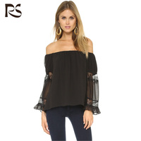 off shoulder black women casual blouse design