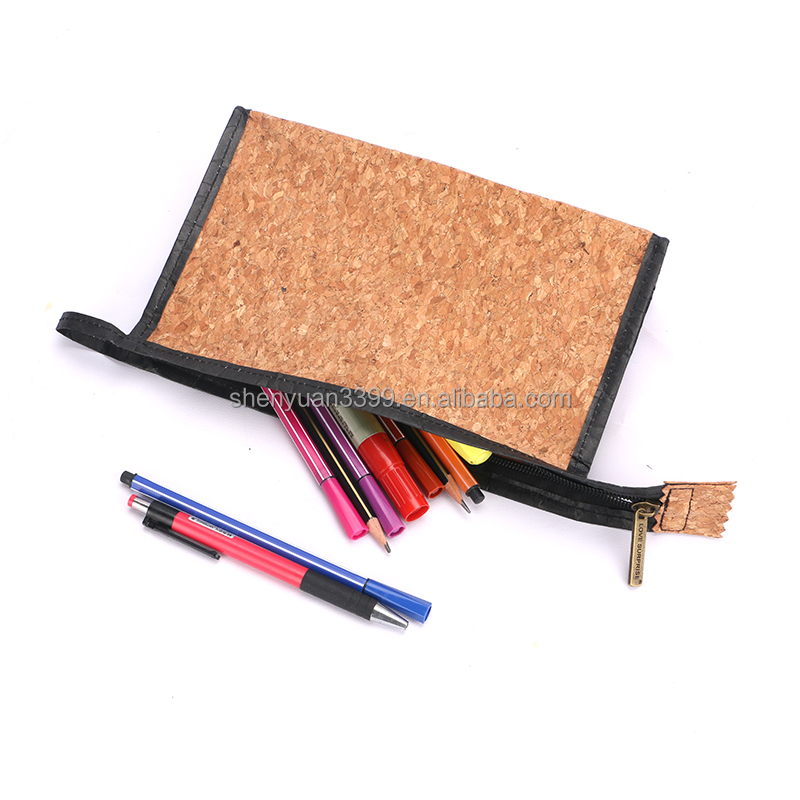 2016 popular cork paper stationery product Alibaba China cork paper pen case factory making cork paper pencil pouches for kids