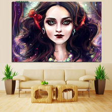 High Quality Magic Style Canvas Art Print Painting Cartoon Girl Portrait Fabric Pictures For Wall Decoration