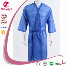 High Quality Blue Disposable Nonwoven Kimono hotel quality bathrobe Disposable Bathrobe for SPA,Salon use