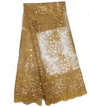 2016 Latest Lace Style African Sequence Fabrics/Designer Dresses Gold French Lace Fabric/5 Yards Wholesale Net Lace Fabrics