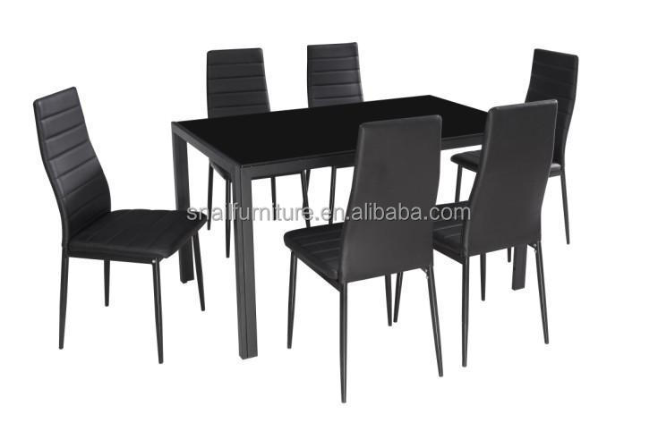 Modern Cheap Black Tempered Glass Stainless Steel Dining Table And Chair Sets