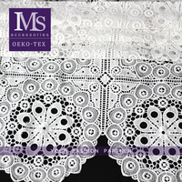 New products for big flower cotton yarn dyed fabric, white organic cotton lace fabric, cotton guipure lace fabric