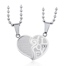 SJ Personalized Jewelry SJCN-015 Fashionable Stainless Steel White Cubic Zirconia Half Heart Pendant Necklace Set for Couple