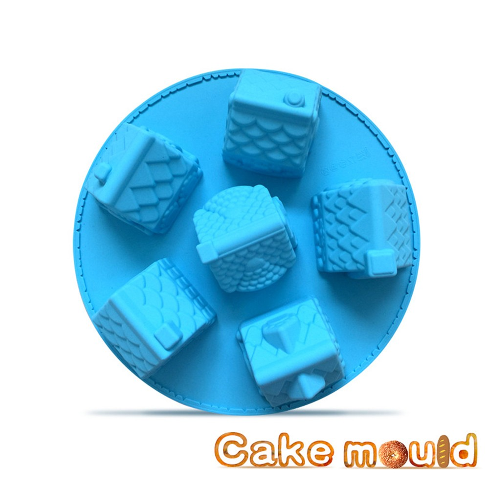 6 cavity castle shaped cake fondant silicone molds for christmas bakeware