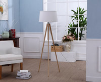 High quality top level natural Solid wood tripod floor lamp