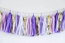 The Best Selling DIY Lilac Tissue Paper Tassel Garland For Wedding Party Decoration