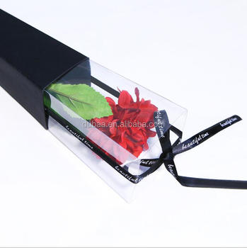 Single Flower Rose Plastic Box and Paper Gift Packaging Case Valentine Flower Gift Packing Box Set