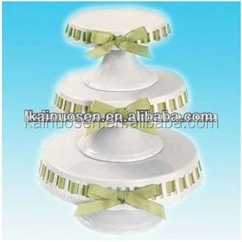 White Porcelain Ribbon Cake Plate