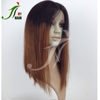 Wholesale Online Middle Part Black Brown Two Tone Colored Ombre Human Hair Bob Full Lace Wig for Black Women