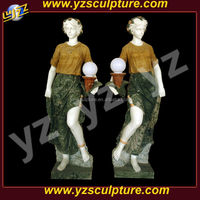 hot sale carving lady holding lamp statue