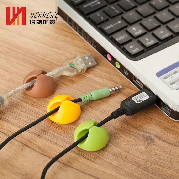 3 Channel Desktop cable clip organizer novelty self adhesive