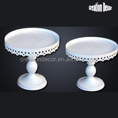 White color iron cake display stand