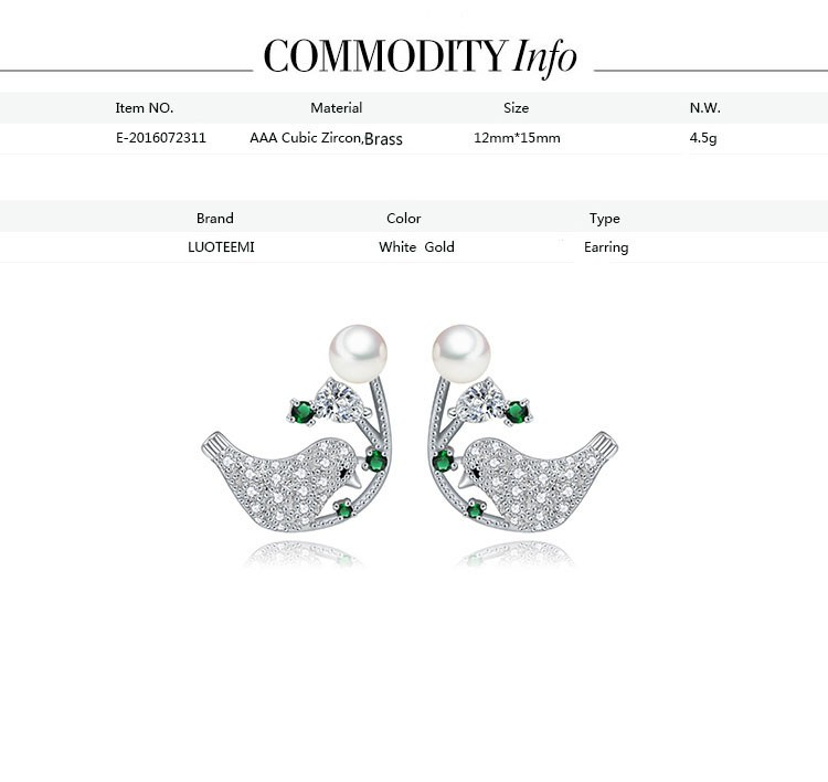 LUOTEEMI White Gold Pated Micro Pave CZ Crystals Vivid Double Magpies Bird Stud Earrings For Women Love Gift