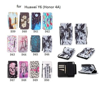 painted magnetic flip Pattern Case for Huawei Y6 Honor 4A Flip Stand Wallet Leather Cover SKins phone case