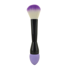 Purple absorbable cleaning cosmetic sponge with brush handle