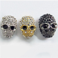 JF2018 metal crystal pave skull beads,skull beads wholesale