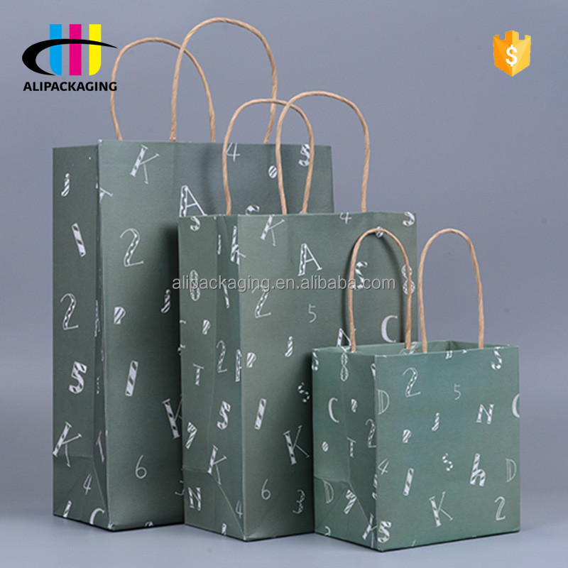 Custom Recyclable Logo Printed Shopping Kraft Paper Square Bottom Bags