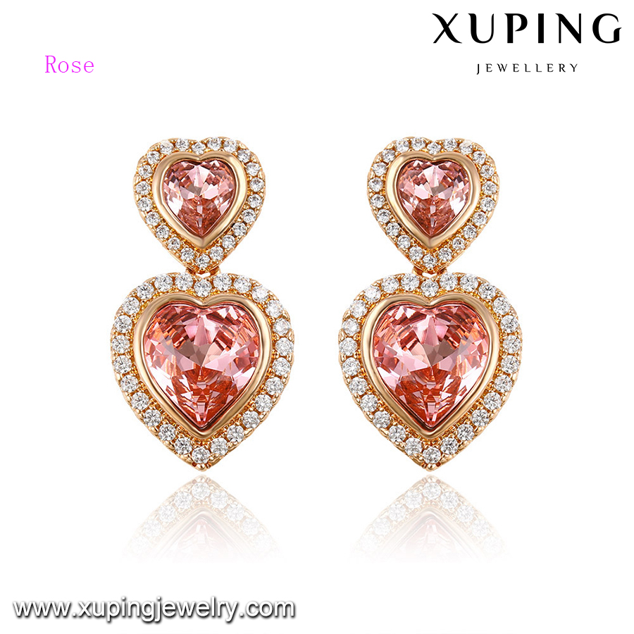 92632-earrings saudi gold jewelry crystals from Swarovski luxury double heart stud earrings